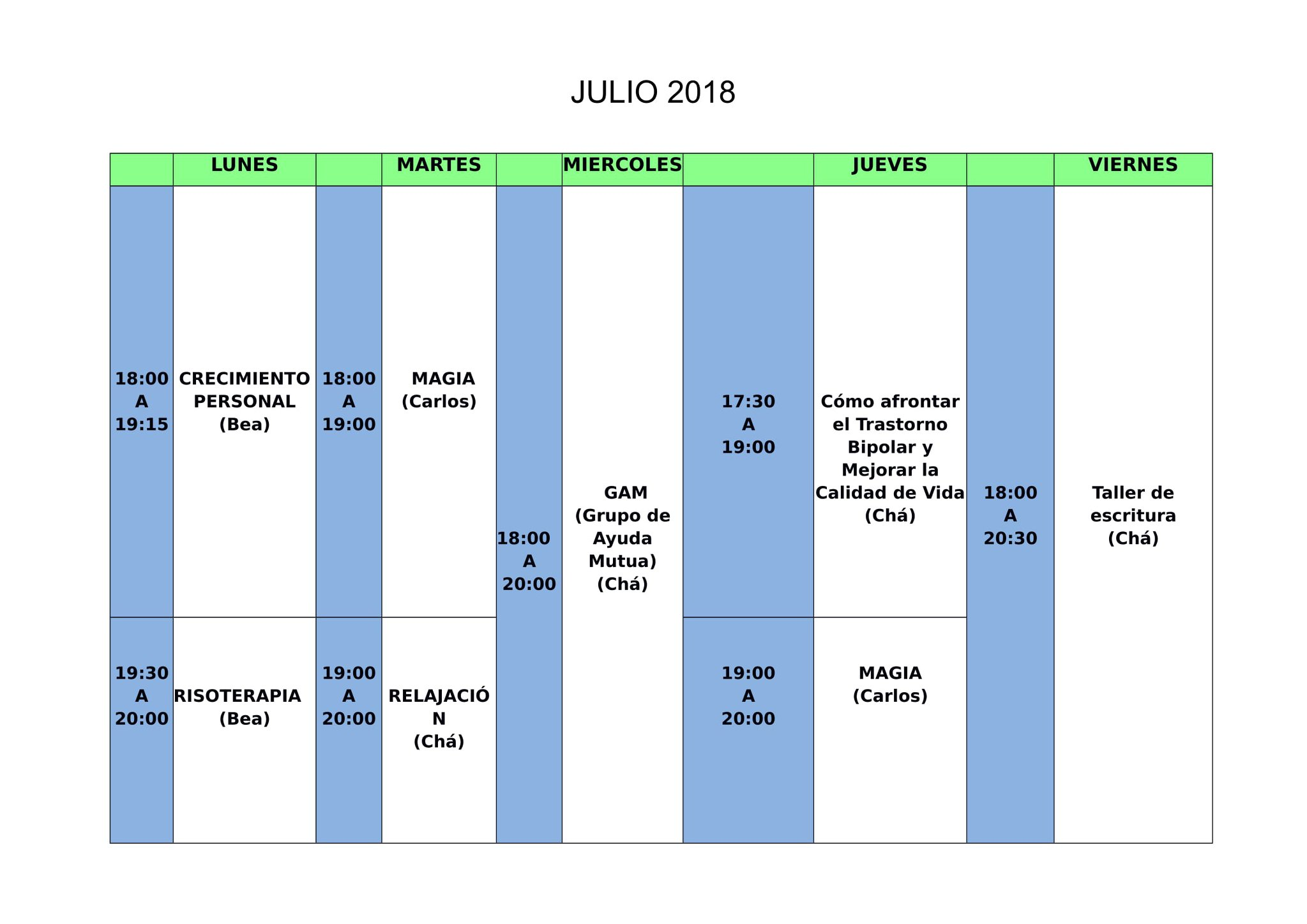 Julio Calendario.Calendario Julio 2018